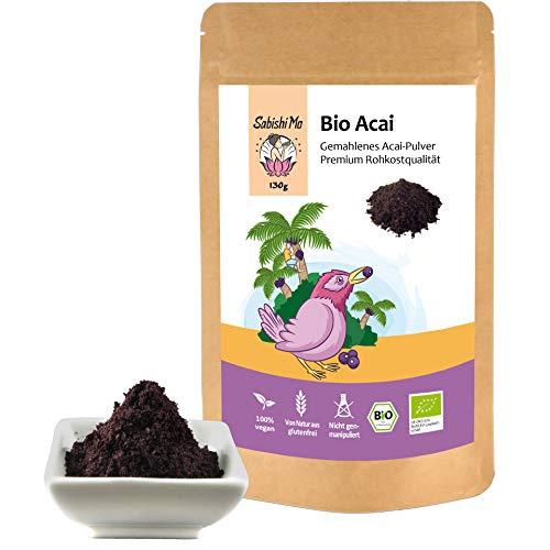 Acai Pulver Bio - Premium Qualität. Das Superfood zum Abnehmen. Perfekt für Obst-Smoothies, Müsli und Mixgetränke (kontrolliert und abgefüllt in Berlin) DE-ÖKO-070-130g