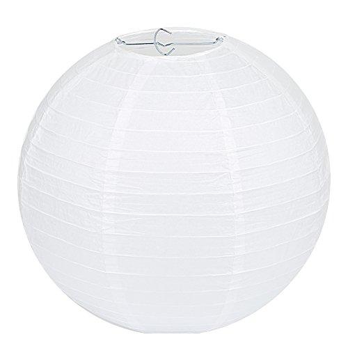 LIHAO 8' Papierlaterne Weiße Papier Laterne Lampions Rund Lampenschirm Hochtzeit Party Dekoration Ballform (10er Packung)