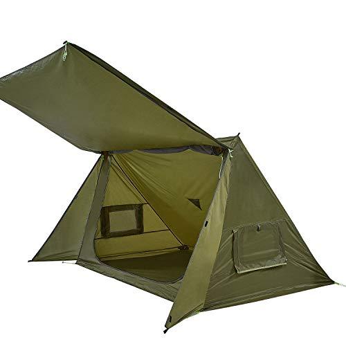 OneTigris Shelter Zelt Leichtes Wurfzelt Sonnensegel, 4 Jahreszeit Unterschlupf Tent mit Notfallmatte für Camping Wandern  MEHRWEG Verpackung (Armee Grün)