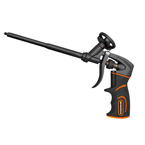 Proteco-Werkzeug PU-Schaumpistole Teflon beschichtet Profi-Qualität Montagepistole Einhandbedienung Softgrip