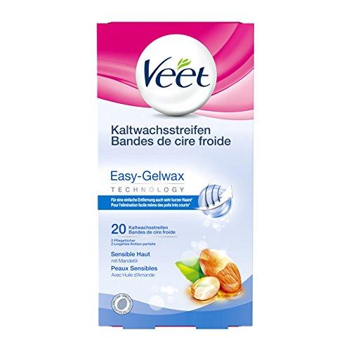 Veet Kaltwachsstreifen Easy-Gelwax Technology Beine & Körper für sensible Haut, 20 Stück