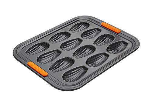 Le Creuset Antihaft Madeleine-Form, für 12 Stück, PFOA-frei, Sauerteigbeständig, aus Karbonstahl gefertigt, anthrazit/orange