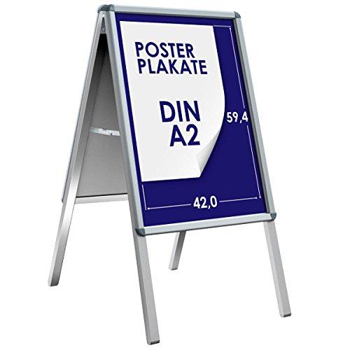 Kundenstopper | A2 | Wetterfester Werbeaufsteller, Plakatständer, Werbetafel | Indoor & Outdoor | Magnetische Metall-Rückwand | 25mm Rahmen