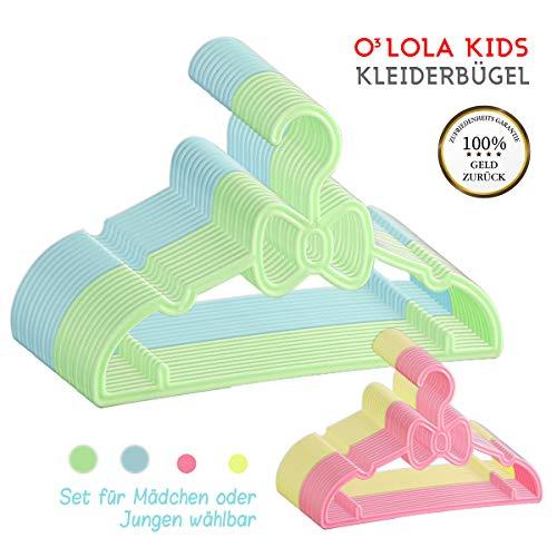 O³ Kinderkleiderbügel 20 Stück // Für Mädchen oder Jungen wählbar // Kunststoff Kleiderbügel 27cm lang für Kinder und Babys // kleine Kinderbügel für Babykleidung // Clothes hangers (Junge)