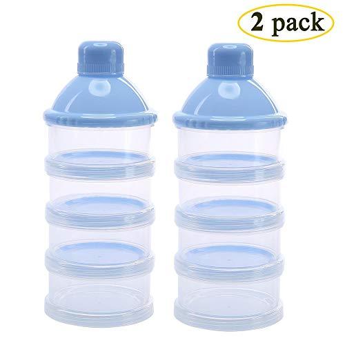 2 Stück Milch Pulver Spender, Formel Milchpulver-Portionierer für 4 Schicht, Säuglingsformel Milchpulver Säuglingsnahrung Kasten Tragbare Milchkasten & Snack Reise im Freien, BPA-frei