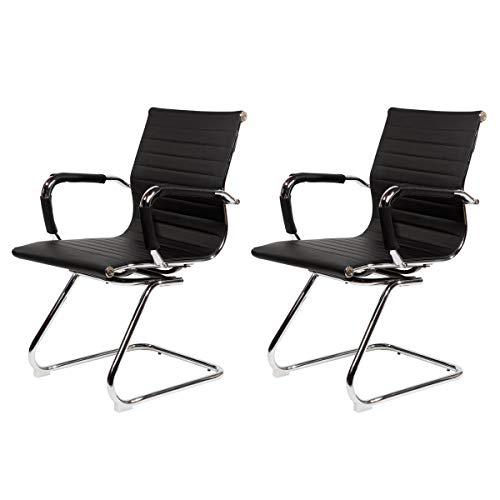 SVITA Elegance 2X Design Bürostuhl Chrom Rahmen Chefsessel Drehstuhl 2er Set Konferenz-Stuhl schwarz