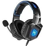 Casking Gaming Headset, Neuen LED-Licht PS4 Gaming Kopfhörer mit Surround Stereo Sound und Mikrofon zur Geräuschreduzierung für Xbox One,PS4,PC,Nintendo Switch,Mac,PC und Phone(Blau)