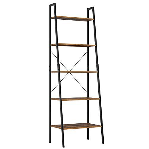 Homfa Standregal Leiterregal mit 5 Etagen Bücherregal Pflanzenregal Blumrenregal Balkonregal Badregal aus Metall und Holz Vintage Industrial schwarz 171x56x38.5cm