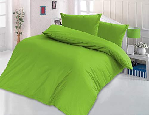 Style Heim 2 TLG. Bettwäsche, Renforcé-Baumwolle, Einfarbig Uni Reißverschuss, 135x200, Grün