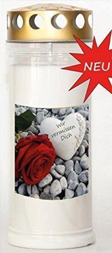 24 Kerzen x St. Jakob's Wochenbrenner mit Golddeckel 7 Tage und Steine mit Rose Motiv