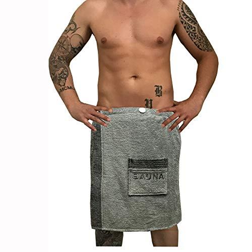JEMIDI Sauna Frottee Kilt Sarong M-XXL Damen oder Herren Anthrazit Grau mit Stickerei 100% Baumwolle Saunakilt Saunasarong Saunatuch (Damen)