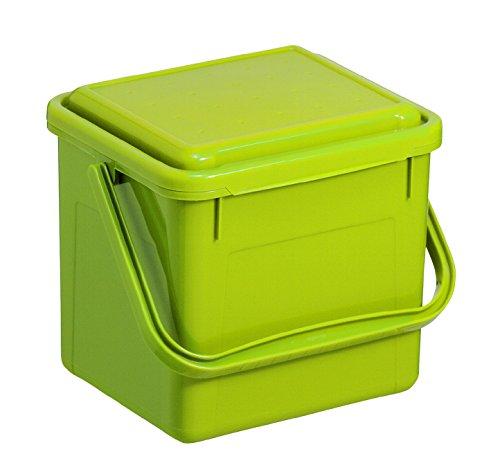 Rotho 1770505519 Komposteimer Bio, Abfallbehälter für die Küche aus Kunststoff mit Geruchsdichtem Deckel in Hellgrün, Biomülleimer mit 4,5 L Inhalt, circa' 21 x 20 x 18 cm Komposteimer, Plastik