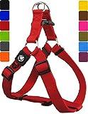 DDOXX Hundegeschirr Step-In Premium Nylon | für große, mittelgroße, mittlere & kleine Hunde | Geschirr Hund | Katze | Brustgeschirr | Softgeschirr | Zubehör | Rot, XXS - 1,0 x 26-35 cm