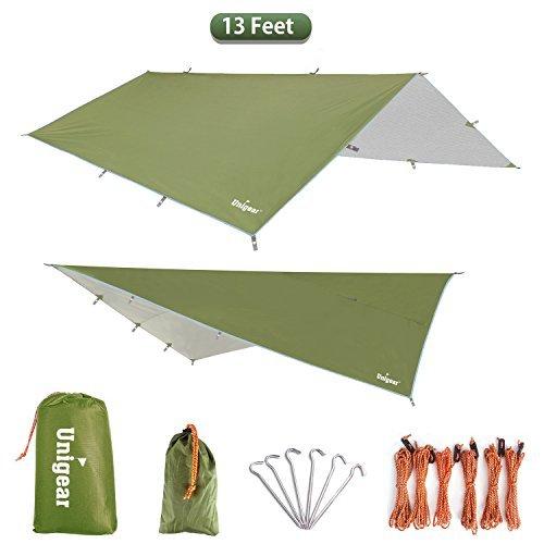 Unigear Zeltplane, Tarp für Hängematte, mit Ösen + 6 Erdnägel+ 12 Seilen, Regenschutz Sonnenschutz für Camping Ourdoor, wasserdicht