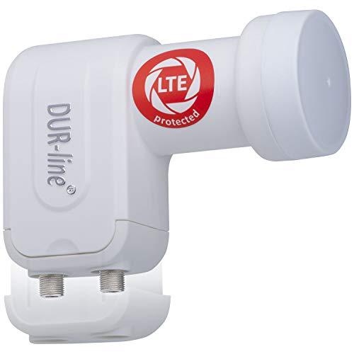 DUR-line +Ultra Twin LNB - 2 Teilnehmer weiß - mit LTE-Filter [ Test SEHR GUT ] 2-Fach, digital, Full HD, 4K, 3D, Sieger - Premium-Qualität