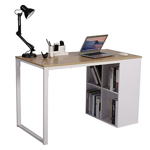 WOLTU Schreibtisch TSG26hei Computertisch Bürotisch Arbeitstisch PC Laptop Tisch, in Melamin, mit 4 Ablageflächen, Gestell aus Stahl, 120x60x75cm(BxTxH), Holz, Eiche