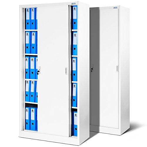 2er Set Büroschrank SD001, Aktenschrank mit Schiebetüren, abschließbar, Farbwahl, 185 cm x 90 cm x 40 cm (H x B x T) (weiß/weiß)