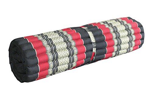 thai4living Thai Rollmatte Yogamatte Thaimatte Liegematte Bodenmatte aus Baumwolle mit Kapok-Füllung in klein und groß in Verschiedenen Stofffarben, Ausführung: groß/Stofffarbe: Schwarz/Rot