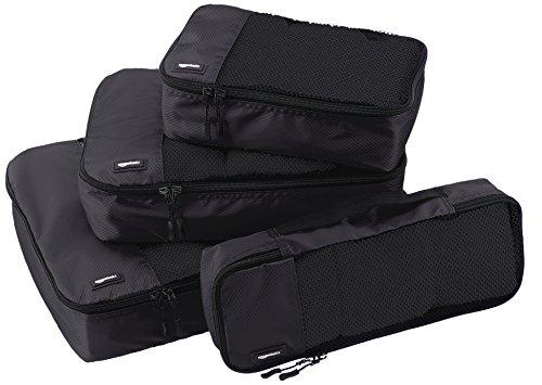 AmazonBasics Kleidertaschen-Set, 4-teilig, je 1 kleine, mittelgroße, große und schmale Packtasche, Schwarz