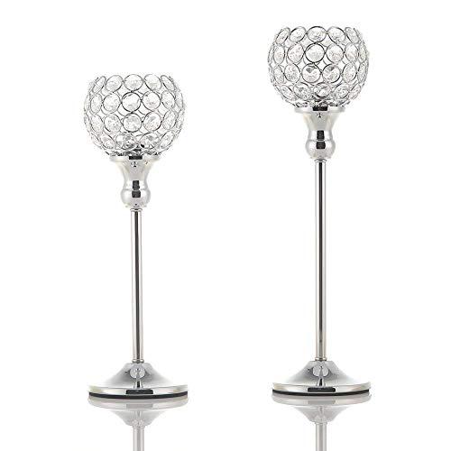 VINCIGANT Silber Kristall Kerzenhalter Set für Esszimmer Dekoration Hochzeit sgeschenk,30cm&35cm Höhe