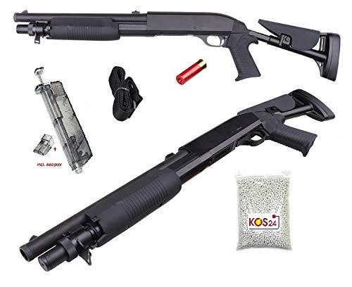 KOSxBO Set Softair Shotgun inklusive Speedloader, 2000 Premium BB Munition, Magazin (Shotshell), Taktischer Tragegurt - M56C Flinte 0,5J - 1:1 Nachbau