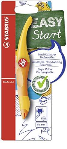 Ergonomischer Tintenroller für Rechtshänder - STABILO EASYoriginal in gelb/orange - Schreibfarbe blau (löschbar) - inklusive Patrone