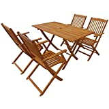 Tidyard- Garten-Essgruppe 5-TLG. Akazie Massivholz Tisch und Stuhl Set   Holztisch und Stuhl   Gartengruppe   Gartenmöbel Essgruppe 1 Tisch + 4 Klappstühle