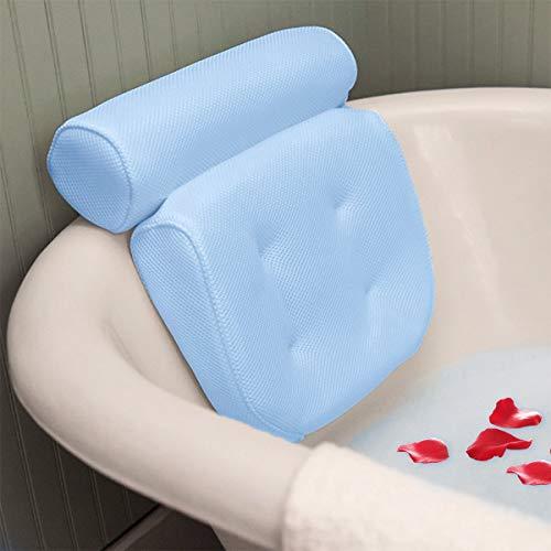 Essort Badewannenkissen,Komfort badewanne kopfkissen mit Saugnäpfen, badewanne nackenpolste für Home Spa Whirlpools, Badekissen Kopfstütze (38 x 36 x 8.5 cm)
