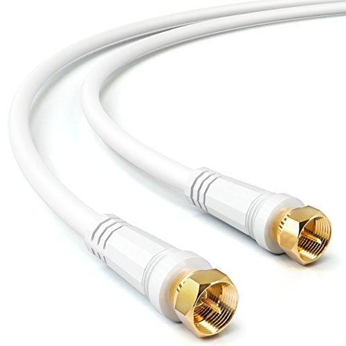 deleyCON 1m SAT TV Antennenkabel Koaxial Kabel HDTV 4-Fach Schirmung DVB-S DVB-S2 Radio DAB vergoldete Metallstecker Weiß