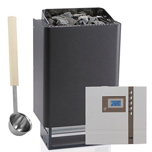 Saunaofen-Set EOS 43.FN 9kW in Anthrazit mit Perleffekt + Sauna-Steuerung EOS Econ D1 + Aufguss-Schöpfkelle EXKLUSIV