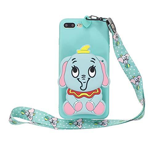 Miagon Silikon Hülle für iPhone 8 Plus / 7 Plus,3D Süß Brieftasche Lager Tasche Design mit Halskette Kordel Schnur Handykette Necklace Band,Blau Elefant