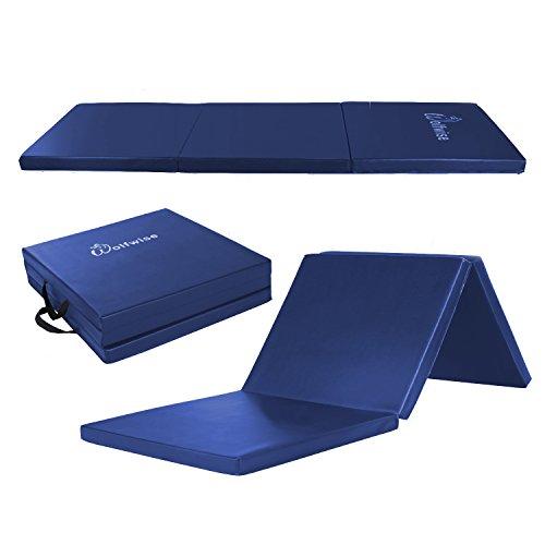 WolfWise 60 x 180 cm Weichbodenmatte, Klappbare Fitnessmatte Gymnastikmatte Turnmatten, Rutschfeste Sportmatte Spielmatte für Kinder/ Erwachsenen, Blau, Klein