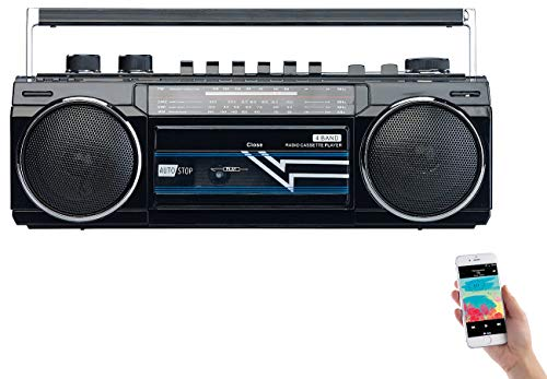 auvisio Kassettenspieler: Retro-Boombox mit Kassetten-Player, Radio, USB, SD & Bluetooth, 8 Watt (Kassettenradio)