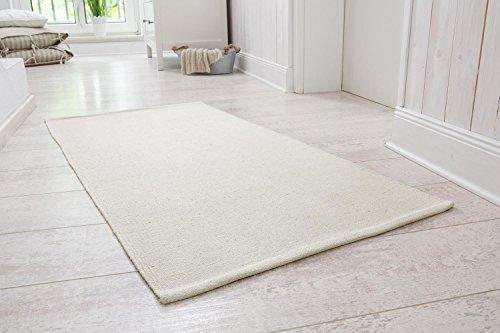 Handwebteppich Milo, Läufer aus 100% Baumwolle, pflegeleicht & waschbar, einfarbig, Farbe:Creme, Größe:60x120cm