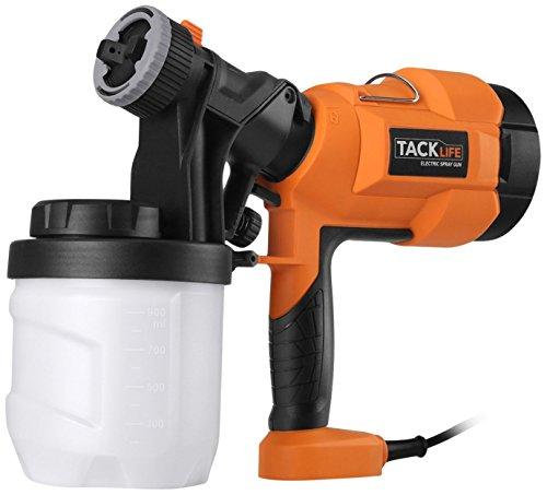 TACKLIFE SGP15AC Farbsprühsystem,Elektrische Farbspritzpistole/Lackierpistole,Sprühpistole, 400 W Einstellbare Strömung mit 900 ml Tank und 3 DÜSE - Schwarz/Orange