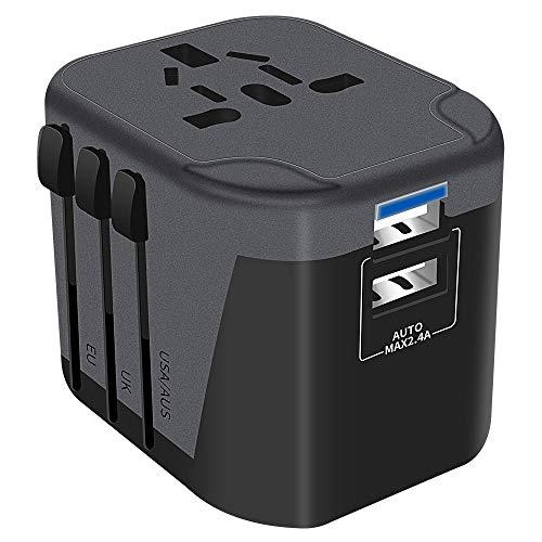 Reiseadapter Reisestecker Weltweit 200 Ländern Universal Travel Adapter 2 USB Ports + AC Stromadapter Aufladung International einsetzbar für Deutschland Europa USA Australian usw