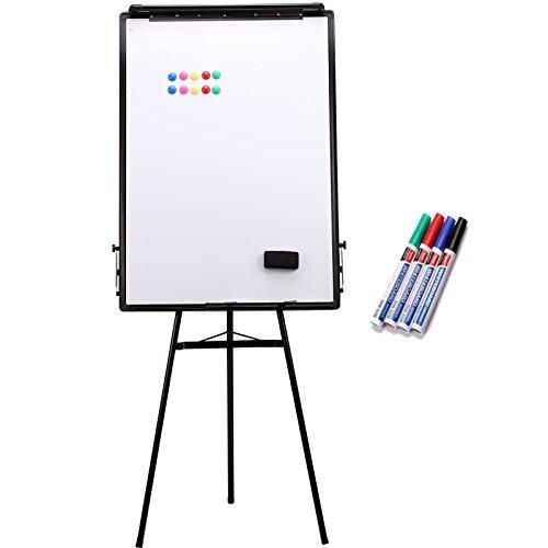 Yorbay 2-in-1 Flipchart und Whiteboard mit Dreibein Ständer, Zusammenklappbar Triangle, Inklusiv Tafellöscher und 4 Stifte und 10x Magnete, Metall, Weiß, 100 x 70 x 8 cm