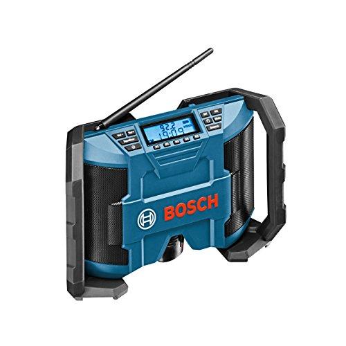 Bosch Professional GML 12 V-LI Akku-Baustellenradio (für 10,8 V/12 V Akkubetrieb, Aux-In (3,5 mm), ohne Akku, Netz-Adapter, Karton) schwarz/blau, 0601429200