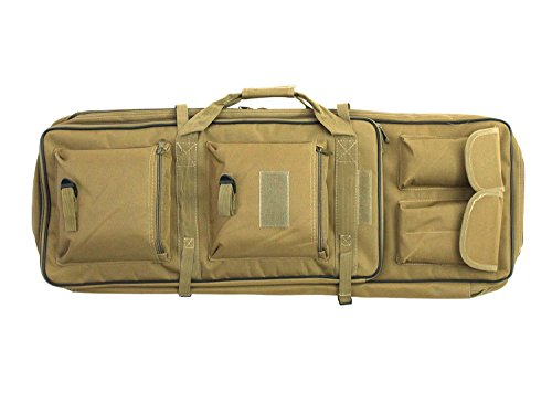BEGADI Langwaffentasche/Futteral mit Doppelfach & Aussentaschen, 85 x 30cm - TAN