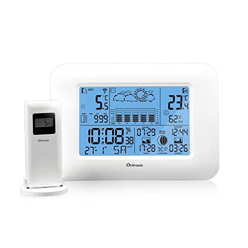 Wetterstation Funk mit Außensensor, Wetterstationen innen und außentemperatur funk mit wettervorhersage, digital Thermometer-Hygrometer für Innen und außen,Betrieben Uhr mit Thermometer(weiße)
