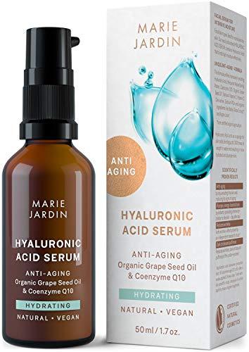 Hyaluron Serum mit Q10 und Vitamin C hochdosiert, 50 ml, bewiesener Anti Aging Effekt, Milderung von Falten und Augenringen, Basis für Make up - zertifizierte BIO Naturkosmetik von Marie Jardin