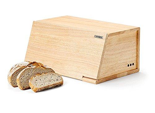 Continenta Brotkasten aus Gummibaumholz, Frontdeckel als Schneidebrett nutzbar, Größe: 40 x 26 x 18,5 cm (ohne Messer)
