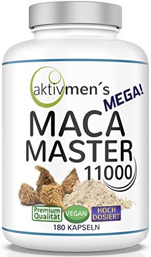 Der aktivmen´s MEGA MACA MASTER 11.000! Extra stark + herrlich hochdosiert - besorgt Euch jetzt die Power aus Peru, dem Reich der Inka-Krieger! 180 Kapseln Maca Wurzel Extrakt 10:1, 1 Dose (1 x 117 g)