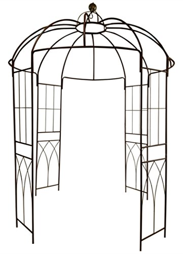 Französischer Stil 4-seitiger Vogelkäfig-Form Metallpavillon Pergola-Pavillon Arch Arbor Arbor Plants Stand-Rack für Garten-Garten-Hinterhof-Patio, Kletterpflanzen, Rosen, Blumen, dunkler Rost