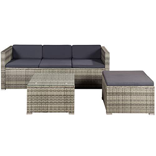 ArtLife Polyrattan Lounge Punta Cana M für 3-4 Personen mit Tisch in grau-meliert mit Bezügen in Dunkelgrau