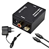 Digital zu Analog Audio Konverter,Ozvavzk Audio Konverter Wandler Digital Toslink und Koaxial zu Analog mit Netzteil und Toslink Kabel