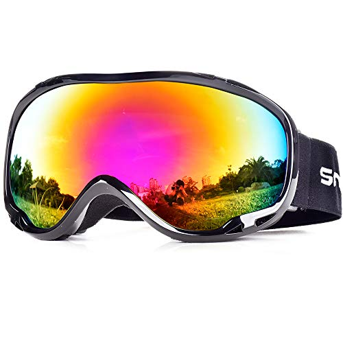 SnowledgeSkibrilleDamen& Herren SkiGogglesUV400 Schutz Doppelscheibe Anti-BeschlagHelmkompatiblefür Brillenträger (B-Fake red)