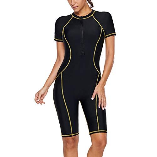 GWELL Damen Nylon Tauchanzug Schnorchelanzug Kurzarm mit Sonnenschutz Einteiler Badeanzug Wetsuit Surfanzug Schwarz L