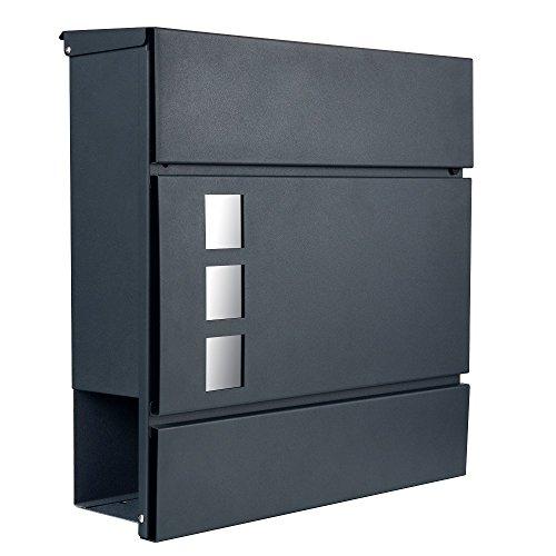 Designer Briefkasten Postkasten 111 anthrazit RAL7016 mit Sichtfenster / Zeitungsfach / Zeitungsrolle NUR 1 x VERSANDKOSTEN FÜR ALLE BESTELLUNGEN ZUSAMMEN ! (111 anthrazit RAL7016)