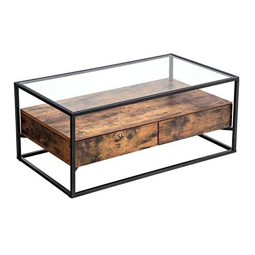 VASAGLE Couchtisch im Industrie Design, Wohnzimmertisch, Glastisch mit 2 Schubladen, Kaffeetisch, Sofatisch, Lounge Deko, gehärtetes Glas, stabil, Vintage LCT31BX